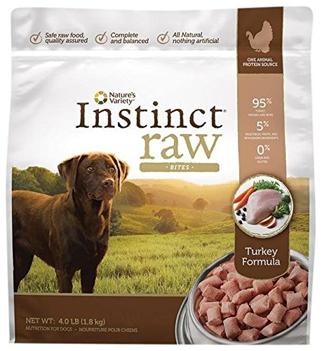 Nature's Variety Instinct Raw Frozen Bites for Dogs – Turkey Formula – 4lb
