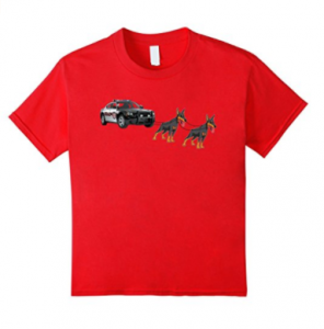 Christmas-Police-Car-Sleigh-Doberman-Pinscher-T-shirt-Xmas