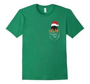 Cute Doberman Dog Pocket Christmas T-Shirt