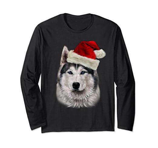 Santa Hat, Christmas Dog, T-Shirt