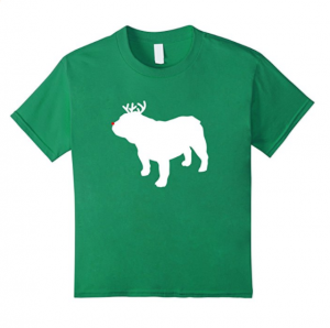 Bulldog Reindeer Christmas Dog T Shirt