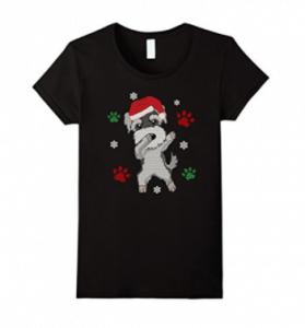 Dabbing-Miniature-Schnauzer-Christmas-Ugly-Sweater-T-Shirt