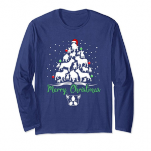 French Bulldog Merry Christmas Long Sleeve Tee Shirt