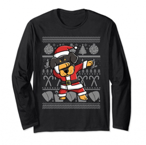 Rottweiler Ugly Christmas Sweater Graphic Long Sleeve Shirt