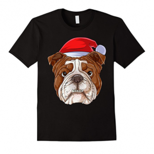 Santa English Bulldog Face T Shirt